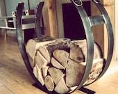 Wrought iron log holder, metal log basket, log storage, horseshoe log holder, fireside log holder