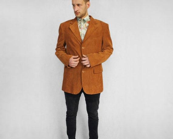 Brown men's corduroy blazer Vintage 90's retro sty
