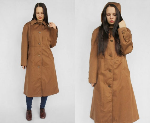 Brown women's trench coat Vintage classic fall out