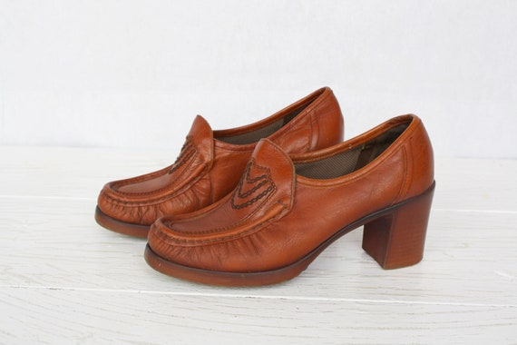 Brown real leather chunky shoes Vintage women's he
