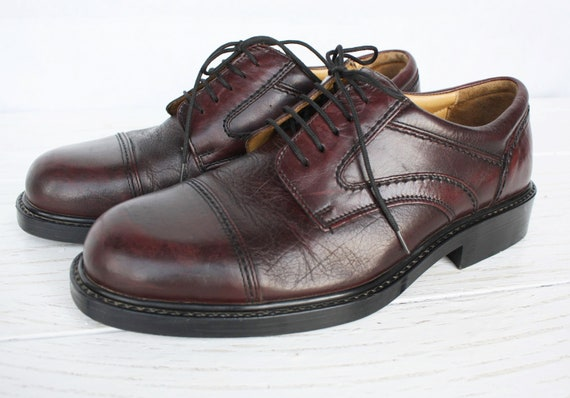 Classic men shoes burgundy leather Vintage Italian