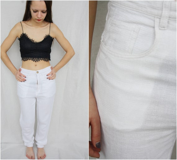 b9b3d26b0892 White pants Cigarettes pants High waist pants Summer trousers