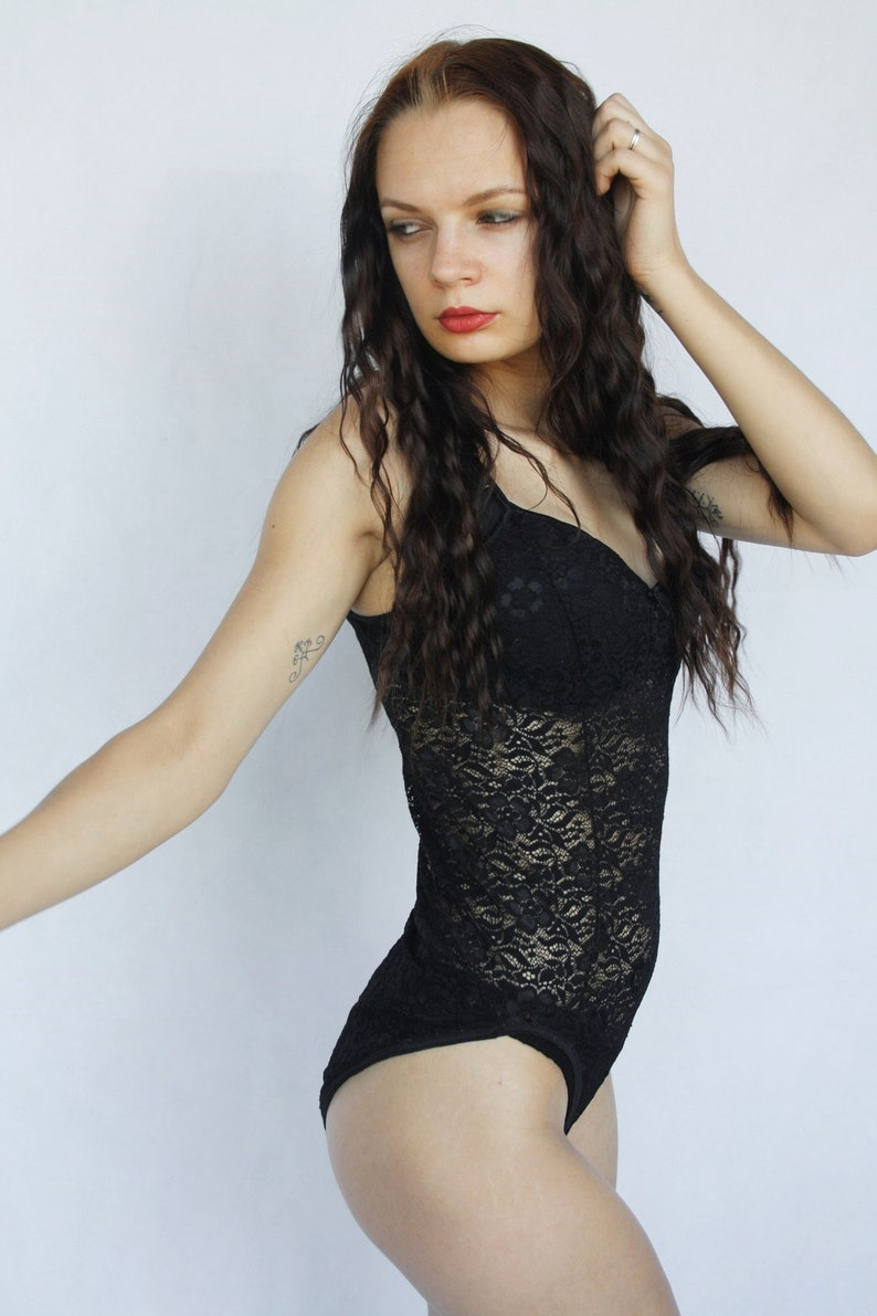 bfde2214a See through lingerie Vintage Black lace Women Sexy One Piece
