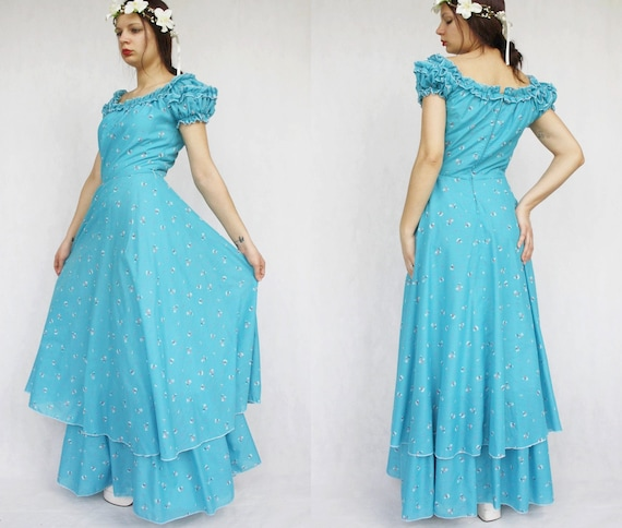 Blue layered vintage maxi dress Long cotton summer
