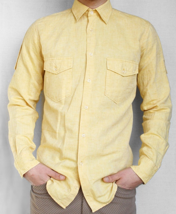 Yellow linen cotton men's shirt Ted Lapidus vintag
