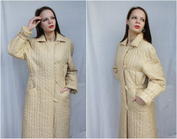 Puffer coat Quilted women Vintage 80's Long Mod co