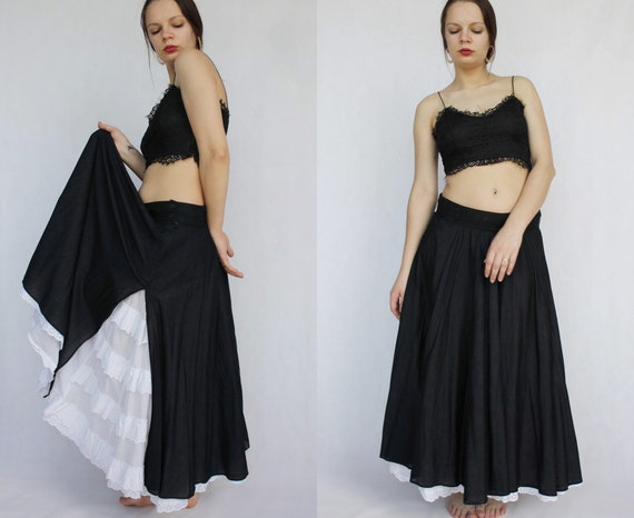 Layered full circle maxi riding skirt with lace Vi