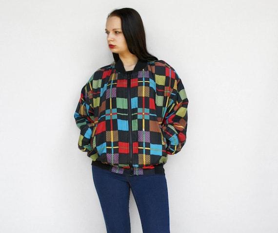 80s colorful checker silk jacket Vintage colorbloc