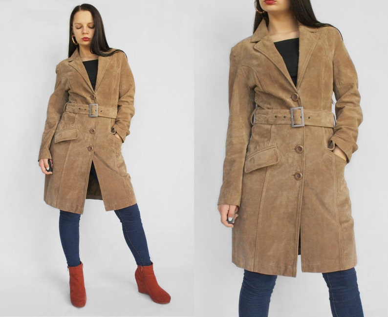 Brown classic suede leather coat Vintage deep v neck mid length belted trench coat