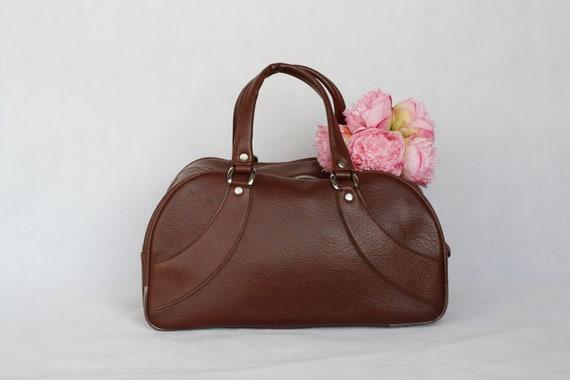 Weekender bag Vintage vegan leather travel brown r