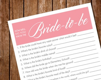 Printable- Bridal Shower Party Game- How well do you know the bride?