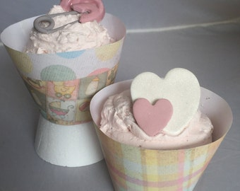 Hearts, Pins and Pacifier Cupcake Toppers