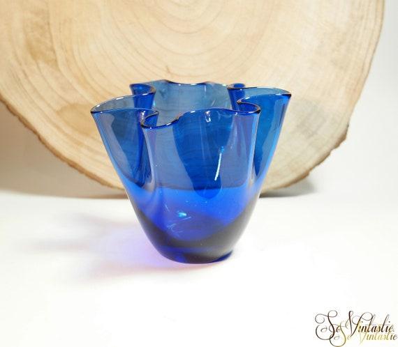 Vintage Cobalt Murano Glass Vase Blue Handkerchief Vase Etsy