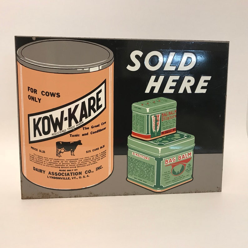 02fab449ce14b Kow-Kare Bag Balm Advertising Sign Vintage Double Sided