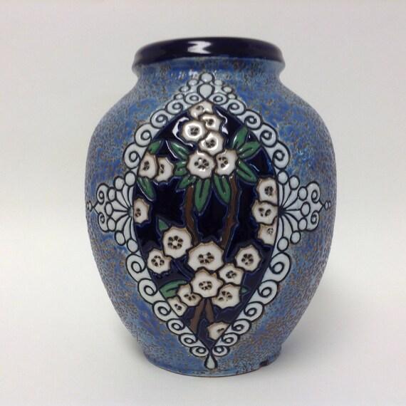 Czech Amphora Vase Czechoslovakia Art Pottery Floral Etsy