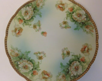 Porcelain Plate, Beyer & Bock Royal Rudolstadt, Prussia, Peony, Antique German Hand Painted Cabinet Plate, Home Decor, Symbolic Wedding Gift