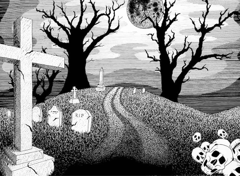 Spooky Cemetery Large Postcard
