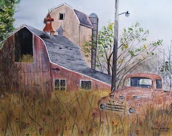 ford truck,old barn scene,old truck,old farm,picturesque farm scene,old barns,red truck,straw,barn silo,growing vines,red barn,flower field