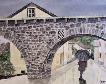 walking in the rain with my thought,rainy day scene,picturesque bridge,stone bridge,townscape,street scene,rain scene,,rain reflections,art