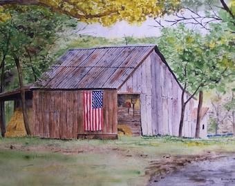 American flag barn,corregated metal barn, old rusty barn, flag, barn, rural barn scene,straw pile, flag display,farm scene,patrotic barn,art