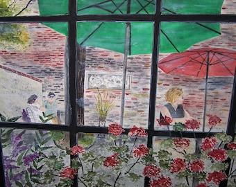 courtyard scene,colorful flowers,red flowers,purple flowers, swan courtyard,lambertville NJ,umbrellas, brick courtyard,picturesque scene,art