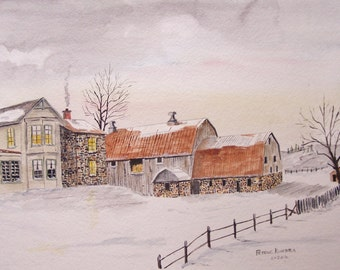 "original watercolor painting,farm painting,barn painting,""WINTER At SIERRA FARM"",13W x 9H"