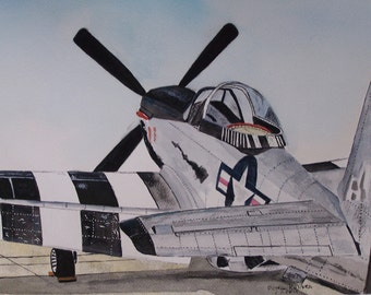 "watercolor airplane painting,aircraft painting,original watercolor,""READY TO GO"", 10.75""x 14"",Peter Kundra ww2 airplane,propeller airplane,"
