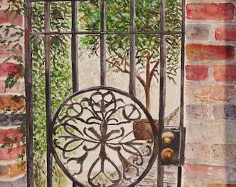 "SCENIC iron,iron gate painting, ""IRON GATE"", Scenic watercolor painting,Irish landscape painting, original Ireland"
