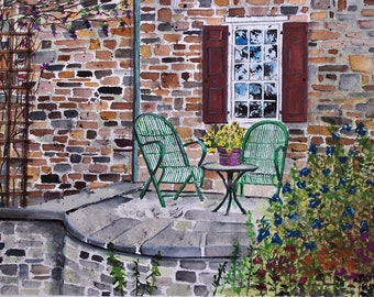"""PATIO"""",painting of iron chairs,patio chairs scene,stone house,window reflections,romantic patio,red shutters,wooden trellis,flower vine"""