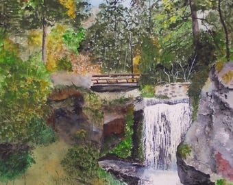 """watercolor painting,painting of waterfalls,painting of forest,""""TRIBERG FALLS"""",painting of waterfalls in black forest,Germany scenic painting"""