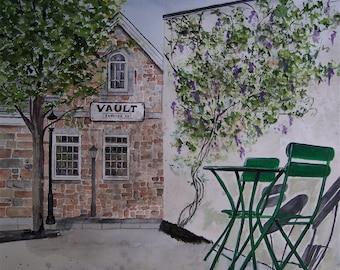 vault brew pub,street scene,yardley vault,beer,town scene,stone building,clinging vines,purple flowers,.street light,shadows, metal chairs