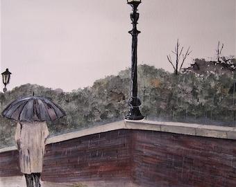 rainy day on the bridge,rainy day,bridge scene,man walking on bridge,mcobblestone bridge,umbrella,brick wall,cloudy day,art show rain,