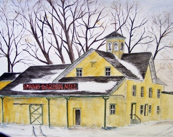 """watercolor painting of mill,scenic mill,landscape,""""SPRINGGARDEN MILL"""",15""""w x 10.5""""h,winter scene, yellow building, animal feed,art sale"""