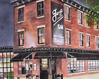 scenic bar,jerrys bar,city scape,philadelphia bar,picturesque bar,brick building,city lights,bright lights,sidewalk scene,bar picture,art