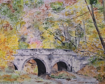 "AUTUMN STONE BRIDGE""-scenic bridge,autumn scene, landscape scene, 10.5x14.5,watercolor painting,  colorful trees, creek, water,autumn scene"