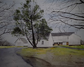 old barn scene,painting of barns,patterson farm, white barns, barn painting, old barns, farm scenery,farm landscape,art show