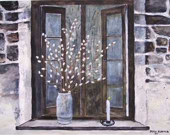 pussy willows,candle breeze,open window scene,candlestick,vase of pussywillows,stone house,evening window scene,white candle scene,art show