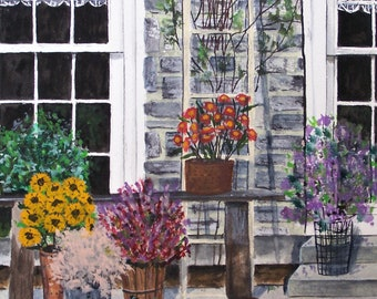painting of colorful flowers,flowers for sale, purple flowers, red flowers,pink flowers,flowers in pots,old stone farmhouse,ladder trillis