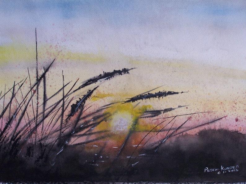Peinture A L Aquarelle Tableau De Bord De Mer L Herbe Dune Peinture De Coucher Du Soleil Qui Brille A Travers 16 H W X 12