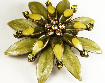 Vintage Enamel And Rhinestone Flower Pin Brooch Pendant - Vintage Jewelry - Vintage Accessories