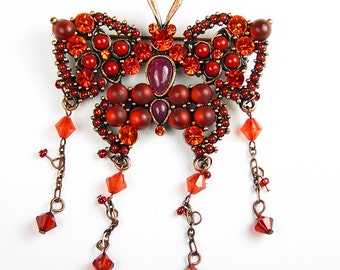 Vintage Butterfly Brooch With Red Rhinestones And Swarovski Beads - Vintage Brooch - Vintage Jewelry