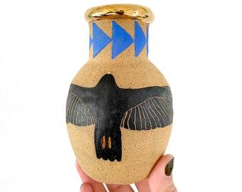 CERAMIC Vase - Hawk Design w/ GOLD LUSTER Accent