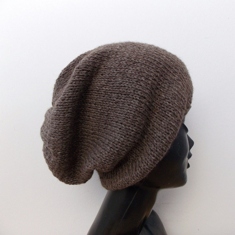 Mens yak wool hat Brown slouchy beanie Womens beanies Wool  684f546604f8