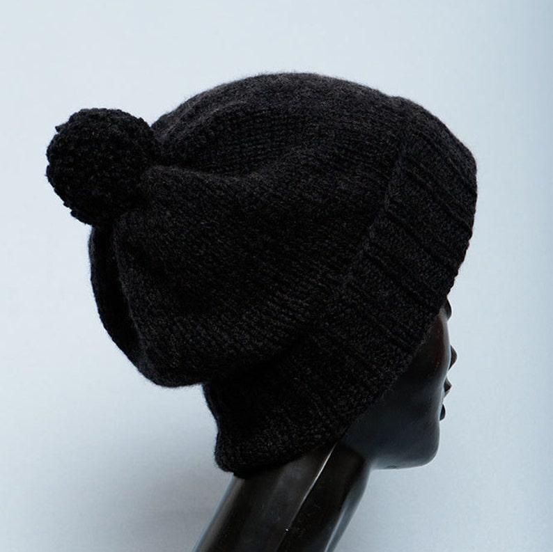 5cb1f73fb8 Bonnet Cachemire noir homme tricot Chapeaux femme Cachemire | Etsy