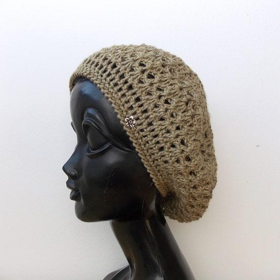 1a14993f671c4 Crochet summer beret Bamboo knitted hats Hand Knitting Hat