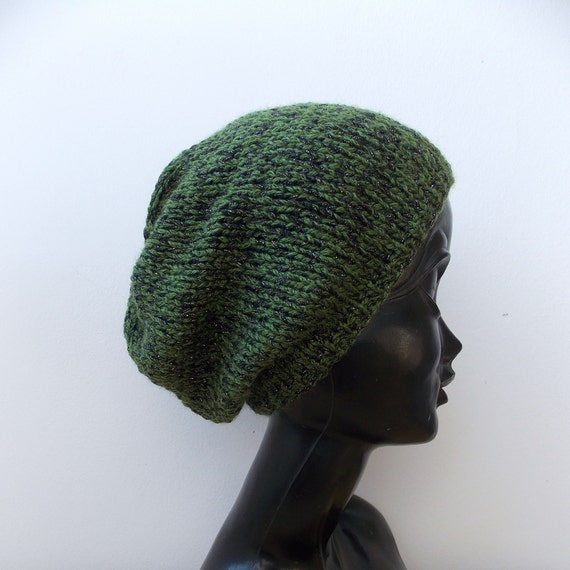e9672b8814d Green black knit hat Wool beanie men Wool slouchy beanie