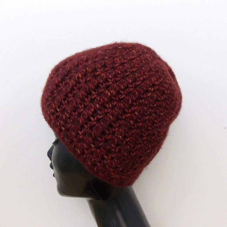 a8265a2f223 Burgundy Alpaca Hat women crochet hat merino wool Dark red