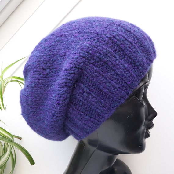 d7c44300717 Merino Wool Hand Knitting Hat blue purple Womens Kids Hat
