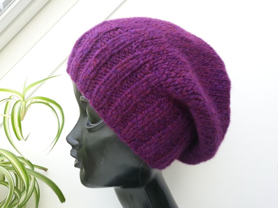 b20ac1b5385 Knit hats women red violet Womens beanies Wool slouchy beanie