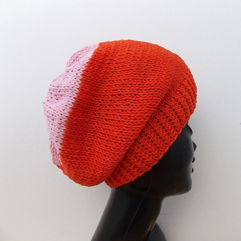 3bd06c70f71 Hand knit cotton slouchy beanie Burnt orange beanie Pink hat